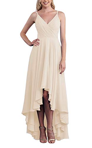 Jacllix Women's High Low Bridesmaid Dresses Chiffon Spaghetti Straps Country Bridal Wedding Party Gowns Champagne