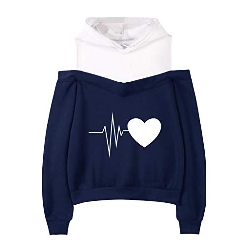 iYmitz Damen Schulterfrei Langarm Hoodie Sweatshirt mit Kapuze Pullover Tops Bluse …