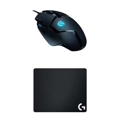 Logitech G402 Hyperion Fury FPS Gaming Mouse + Logitech G240 Gaming Mauspad (für Gaming Mause) schwarz