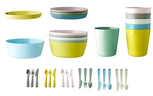 Ikea - Juego de vajilla y cubertería Kalas de colores pastel para niños, de plástico, sin BPA, con cuencos, cubiertos, platos y vasos