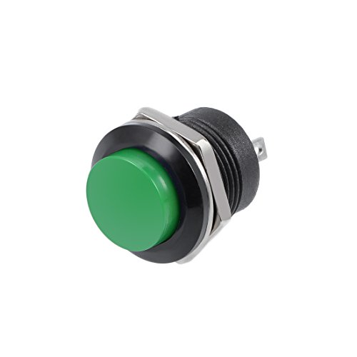 sourcing map 5pz,16mm verde Pulsante momentaneo interruttore pulsante rotondo SPST 1 NA 1 NC