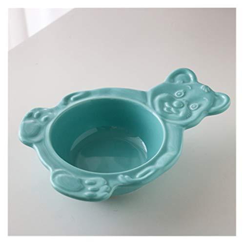 Platos De Postre Cuencos de placa de postre lindos platos de cena de cerámica postre plana sopa placa desayuno ensalada bandeja Plato Llano (Color : Blue Bowl)
