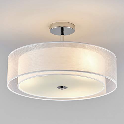 Preisvergleich Produktbild Lindby LED Deckenleuchte 'Pikka' (Modern) in Weiß aus Textil u.a. für Wohnzimmer & Esszimmer (3 flammig,  E27,  A+,  inkl. Leuchtmittel) - Lampe,  LED-Deckenlampe,  Deckenlampe,  Wohnzimmerlampe