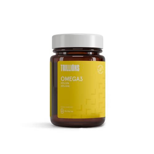 Trillions Omega 3 de Aceite de Pescado [3000 mg] - 1050 mg EPA y 750 mg DHA - Alta Potencia - Destilado Molecularmente para mayor pureza - Fuente de Ácidos Grasos - 90 cápsulas blandas - Sostenible