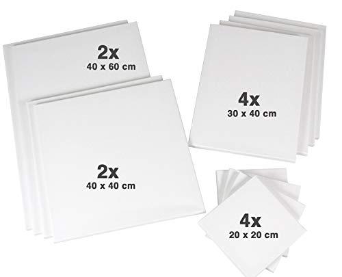 Meister Keilrahmen-Set-1 mit 12 Keilrahmen: je 2X 40x40 + 40x60cm, je 4X 20x20 + 30x40cm, 320gr/m² Leinwand, Keilrahmenset