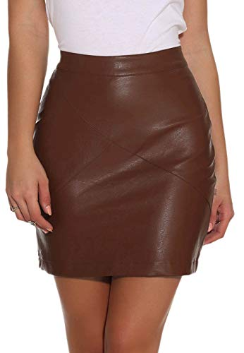 GUANYY Women's Faux Leather Vintage High Waist Classic Slim Mini Pencil Skirt (Brown, X-Large)