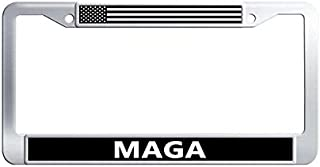 Hensonata Popular Stainless Steel License Plate Frame, MAGA Car Licence Plate Covers Slim Design with Screw Caps Car Licenses Plate Covers Holders for US Vehicles