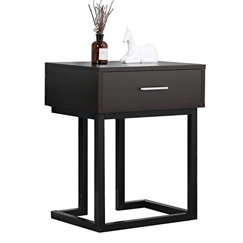 sogesfurniture Bedside Table Cabinet Nightstand End Side Table with Storage Drawer, Black Metal Frame, for Living Room, Bedroom Furniture, 45x34x55cm,Dark Brown BHEU-DX-326