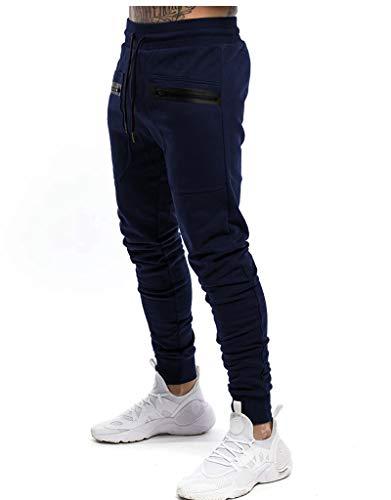 Yidarton Herren Jogginghose Sporthose Baumwolle Sweat Pants Trainingshose Jungen Slim Fit Freizeithose Joggers Streetwear (Navy blau, s)