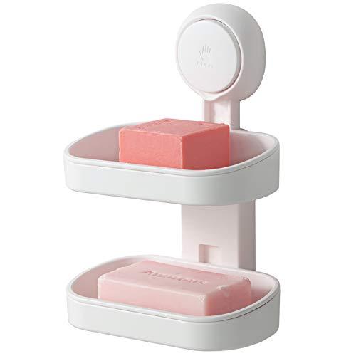 TAILI Doppelschicht Seifenschale mit Saugnapf Seifenhalter, Starker Schwammhalter für Dusche, Bad, Wanne und Küchenspüle, Ohne Bohren, Herausnehmbar