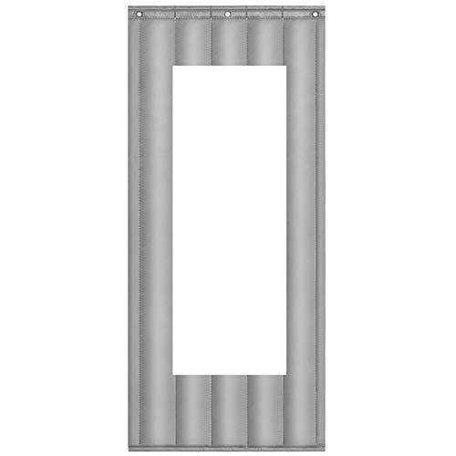 JINGMAI Isolierter Türvorhang, Transparentes Fenster Wärmeschutzvorhang, Wasserdicht Schalldicht Thermovorhang Zum Supermarkt, Anpassbar (Color : Silver, Size : 1.2x2.1m)