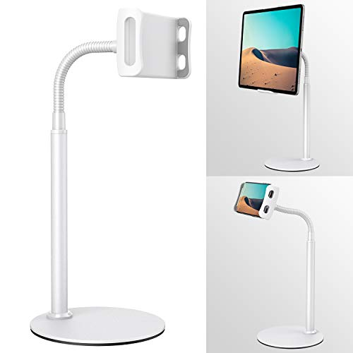 "Tablet&Phone Stand, Klearlook Height&Angle Adjustable Swivel 360 Degree Rotation Gooseneck Flexible Arm Stand Clamp Mount, Metal Stand Holder for 4.7"" to 12.9"" Tablets and All Smartphones -White"