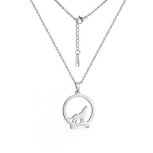 YQMR Colgante Collar para Mujer,Moda Colgante Collar De Mujer Diseño Clásico Redondo Plata Grabado Hollow Lobo Animal Colgante Hip Hop Joyería Regalo para Parejas Chica
