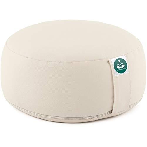 Present Mind Meditationskissen - Yogakissen Rund Zafu - Hergestellt in der EU - Sitzhöhe 16cm - Waschbarer Bezug - 100% Natürliche Yoga Sitzkissen (Hellbeige)