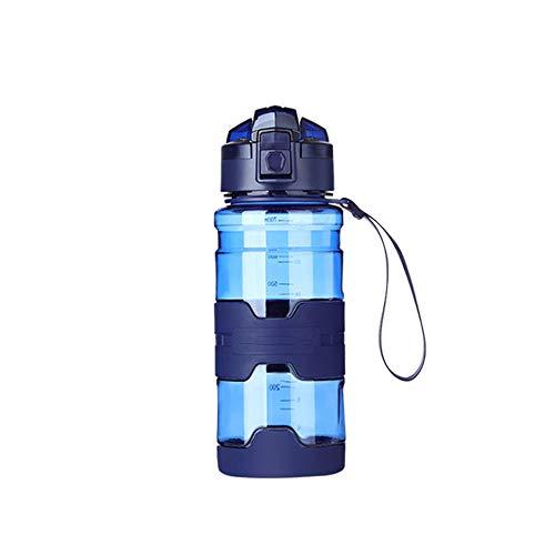 Jusemao Botella deportiva antideslizante anti-caída Copa espacial con cubierta de rebote botella de agua portátil 500ml-azul_500ML