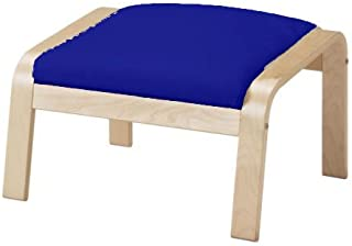 The Dense Cotton Poang Footstool Cover Replacement Is Custom Made for Ikea Poang Chair's Ottoman Slipcover. (Blue)