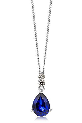 Miore Kette Damen 0.06 Ct Diamant Halskette mit tropfen Anhänger Edelstein/Geburtsstein Saphir in blau und Diamanten Brillanten Kette aus Weißgold 9 Karat / 375 Gold, Halsschmuck 45 cm lang