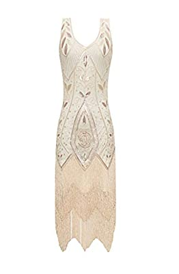 Radtengle Women's 1920s Flapper Dress V Neck Fringe Beaded Great Gatsby Party Dress