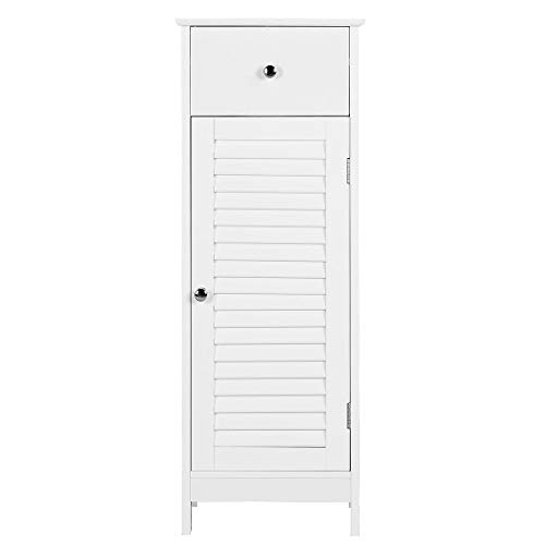 YAHEETECH Bathroom Floor Storage Cabinet, Free-Standing Side Storage Organizer Unit with Drawer and Single Shutter Door, White