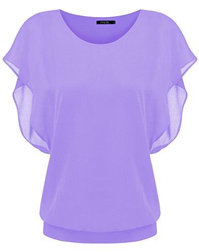Zeagoo Damen Sommer Casual Loose Fit Kurzarm Fledermaus Batwing T-Shirt Shirt Chiffon Top Bluse, EU 38(Herstellergröße:M), Helllila