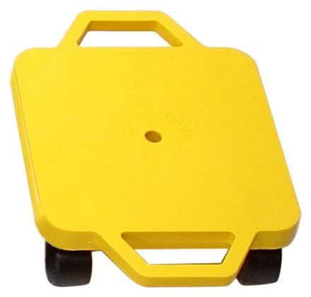 Cosom Scooter Board, 12 Inch Children's Sit & Scoot Board with 2 Inch Non-Marring Nylon Casters & Safety Guards for Physical Education Class, Sliding Boards with Safety Handles, Yellow