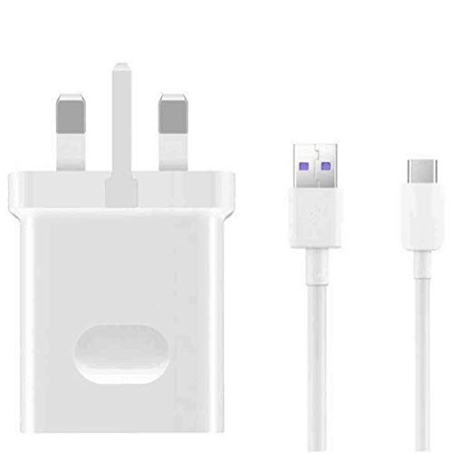 Huawei SuperCharge - Genuine Mains Adapter Charger With 5A Type C USB Cable Compatible with Huawei Type C Mobile Phones (No Retail Packaging)