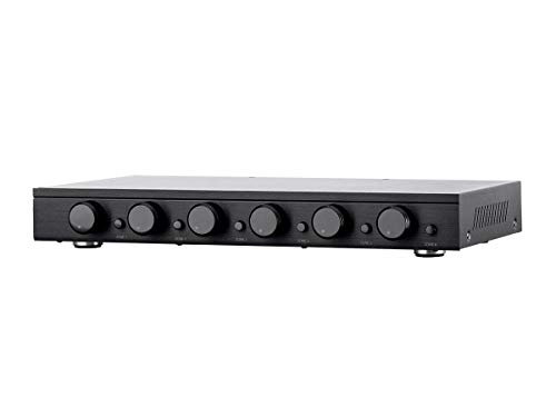 Monoprice SSVC-6.1 Single Input 6-Channel Speaker Selector with Volume Control, Impedance Protection, Individual Zone On/Off Buttons, Model Number: 138160 Black