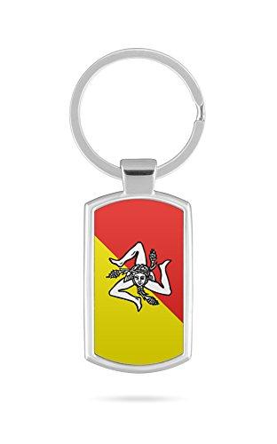 Schlüsselanhänger mit Gravur Wunschtext Name Sizilien Italien Fahne 2