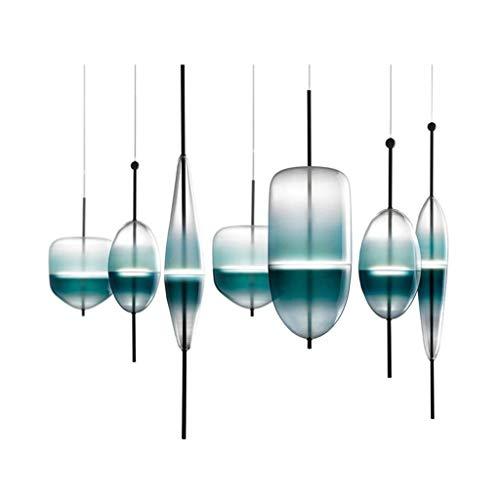 DD Nordic Postmodern creatieve eenvoudige Blue Lake glazen kroonluchter restaurant bar tafel eenpersoonsbed hoofd hanger Light 01 – 04 10×89cm