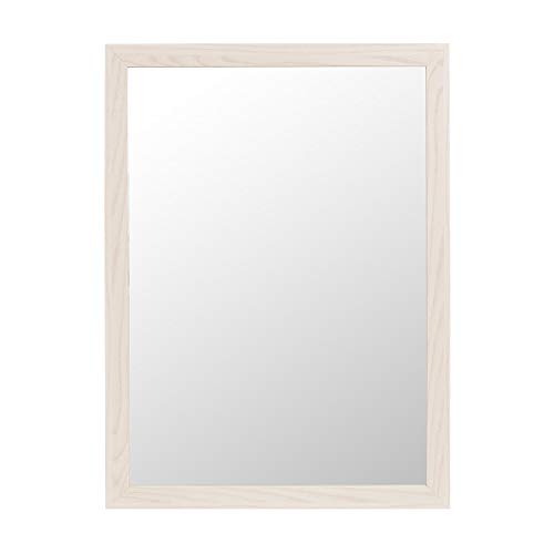 LOLAhome Espejo de Pared de Madera MDF nórdico de 56 x 76 cm para decoración (Blanco)