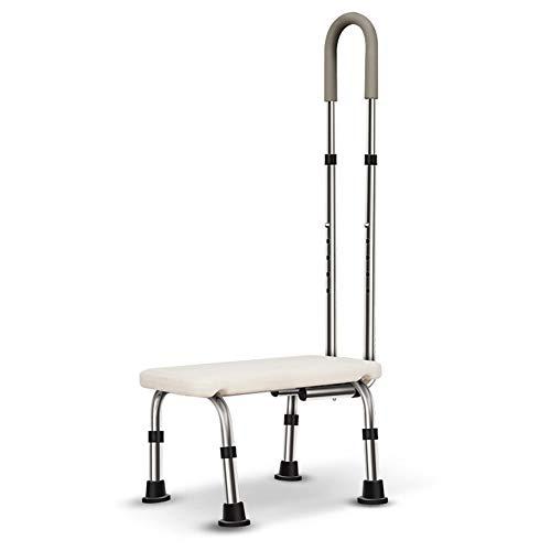 Badewannentritt Badewannenhocker Badhocker Einstiegshilfe Wannenhocker Rutschfester Tritthocker mit abnehmbarem höhenverstellbarem Handlauf für ältere Menschen, Behinderte
