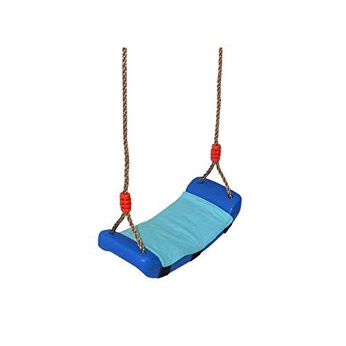 Beautiful happy Columpio de columpio infantil para interior o balcón, de plástico curvado, columpio para casa al aire libre con cojines, juguete de interacción familiar (color: azul)