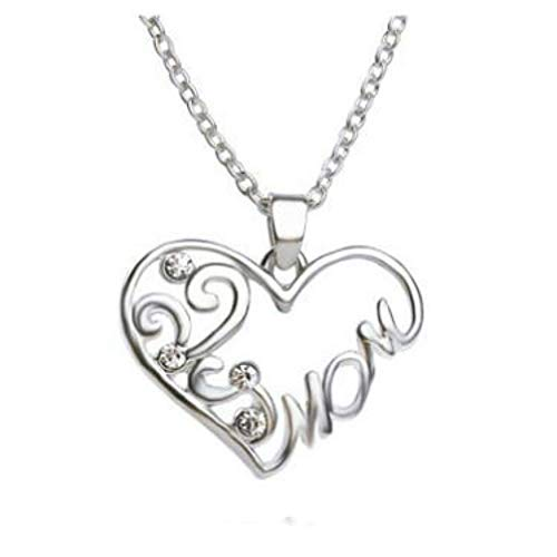 Myhouse Heart Shape Rhinestone Lettering Mom Necklace Chain Womens Charm Accessories, Silver Color
