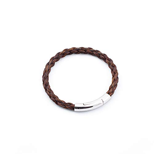 crintiff - Horsehair Bracelet for Men and Women - Collection Montana - Rounded Braid - Color Brown - Size 7.1/7.5in - Medium