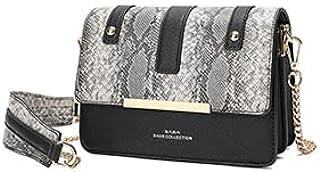 حقيبة نسائية من SAGA بتصميم أنيق في أحزمة جلد الثعبان ، أسود