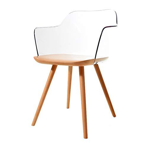 Dining Chair Silla de escritorio hermosa, simple, respaldo creativo, silla de ocio, para adultos caseros fuertes (color: transparente)