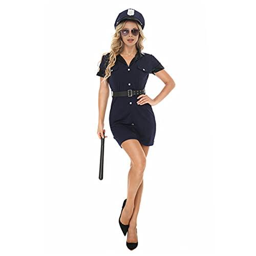HIZQ Disfraz De Policía para Mujer, Baile De Graduación De Halloween Sexy Traviesa Policía Instructora Vestido De Cosplay Fiesta De Discoteca, Disfraz De Escenario Uniforme,M