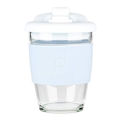DrinkPod wiederverwendbarer BPA-frei 340 ml 12 oz Kaffeebecher / Reisetasse aus Glas – WINTER, WEIβ