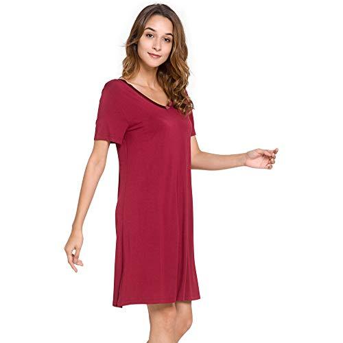 Dames korte mouwen pyjama nachthemd casual Home Service badjas losse korte mouwen V-hals nachthemd