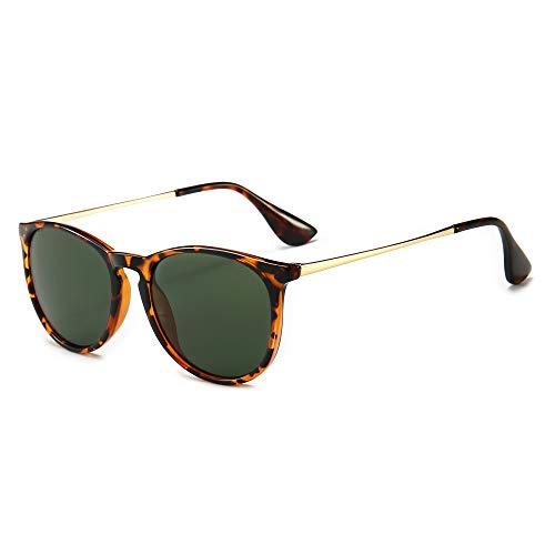 SUNGAIT Gafas de Sol Mujer Hombre Retro Redondas Unisex UV400 Proteccion(Marco Ámbar/Lentes Verdes)
