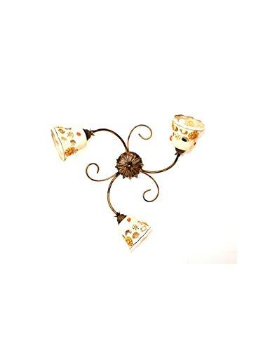 Ilab Plafón de 3 luces de hierro forjado con cerámica coll.sofia, Monta 3 bombillas E14 casquillo pequeño máx. 40 W (no incluidas), medidas: diámetro: 60 cm, profundidad: 18 cm, plafón de cerámica