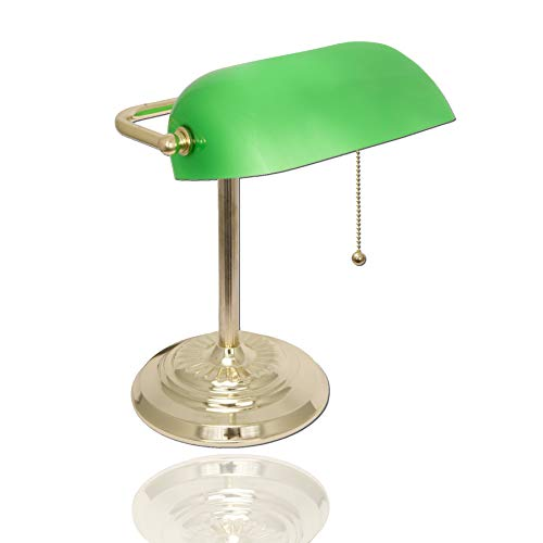 Bankers Desk Lamp with Green Shade by Light Accents - Desk Light with Green Glass Shade and Polished Brass Finish - Vintage Reading Lamp - Antique Lamp - Green Banker Lamp - Metal Office Lamp