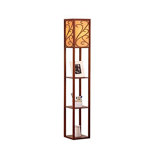 Lámpara de pie con estantes, luz de pie de estante de madera, lámpara de lectura moderna para dormitorio, sala de estar, decoración del hogar (sin bombilla)-01 nuez