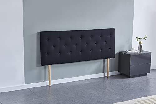 Tête de lit Deco, capitonnée Tissu Noir, L'épaisseur Totale de 8 cm (140 x 100 cm)
