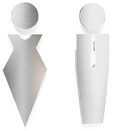 Letreros para WC - señales autoadhesivas de acero inoxidable para baños - montaje sin herramientas - rótulo de inodoro - S01