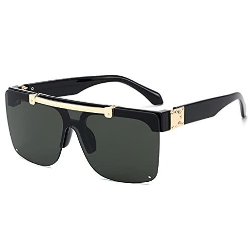 JINZUN Gafas de Sol de Moda Punk Gafas de Sol sin Montura Visera Plegable Gafas Anti-UV Película Negra/Verde Oscuro