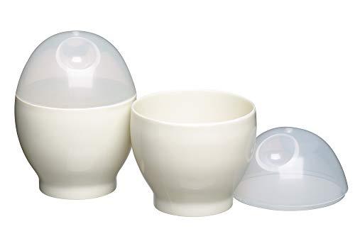 KitchenCraft KCMEGG Set di Bollitori Uova per Microonde, Plastica, Bianco
