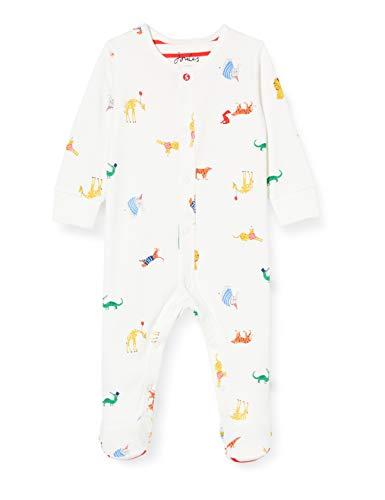 Joules Baby Boys' Ziggy Babygrow, White Animals, 1st Size