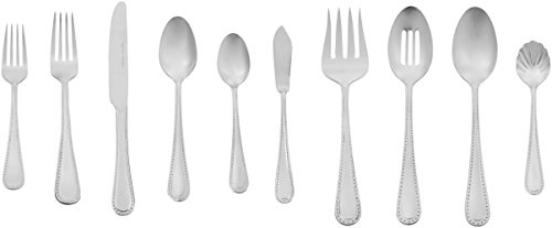 Amazon Basics 65-Piece Stainless Steel Flatware Set with Pearled Edge, Service for 12