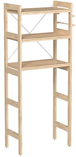 山善ランドリーラック幅69×奥行40×高さ170cm天然木棚板可動タオルハンガーフック2個天板こぼれ止めアジャスター組立品ナチュラルTLR-17743(NA)